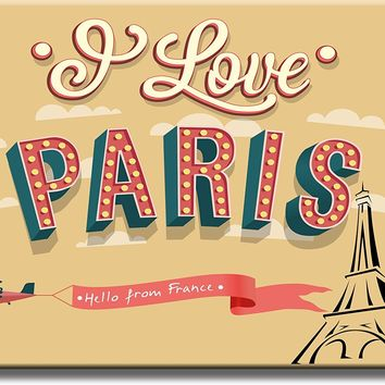 I Love Paris, Hello from France Picture on Acrylic , Wall Art Décor, Ready to Hang