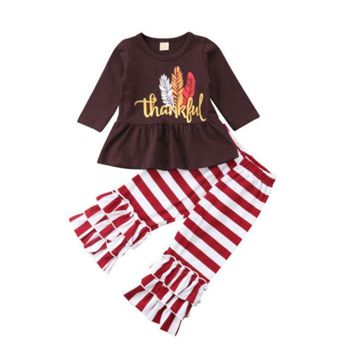 Toddler Kids Children Baby Girl Clothes Set Autumn Long Sleeve Thanksgiving Brown Tops Striped Pants Girls Clothing 2Pcs Outfits