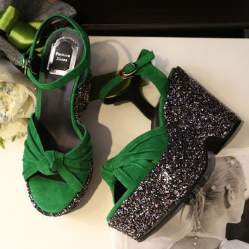 Summer Fashion Women's Shoes - Lace Up Sandals for summer chill style in green = 4777193924