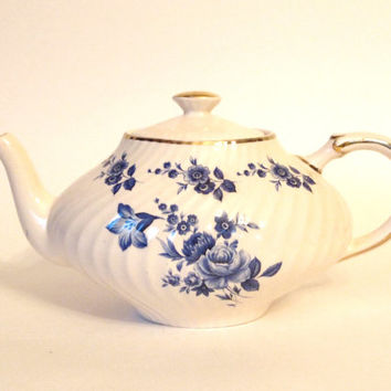 Vintage Arthur Wood Teapot Georgian with Blue Roses and Gold Trim  Mid Century - England