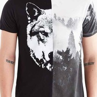 Pieced Wolf + Forest Tee- Black