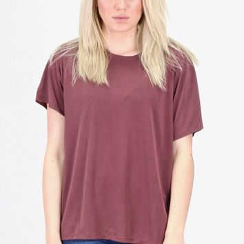 Short Sleeve Basic Modal Tee {Marsala}