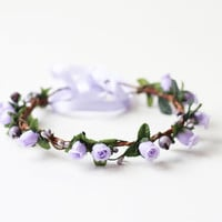 romantic rose hair wreath // lilac purple - woodland, wedding, dainty rose headpiece, headband, hair crown,