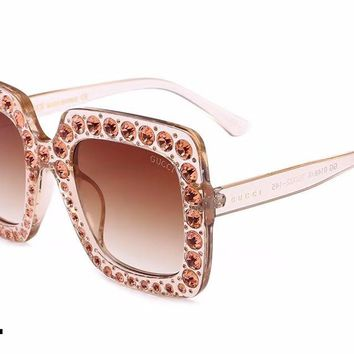 GUCCI female diamond glasses fashion personality sunglasses #4