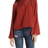 Rust Lace Yoke Mock Neck Gauzy Top by Charlotte Russe