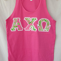 Pink Tank With Lilly Print On White (103)