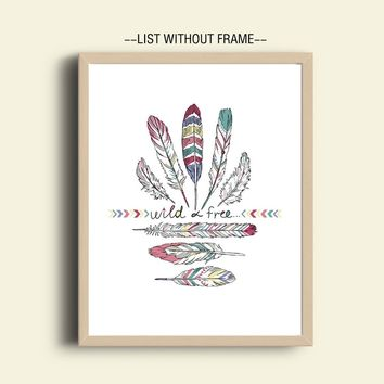Feathers Art Wild and Free Spirit Indian Style Print Kids Wall Art Decor Native American Wall Art Wall Hanging Home Decor Art Pa