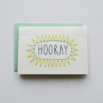 HOORAY - Hand Stitched Note Card with Envelope