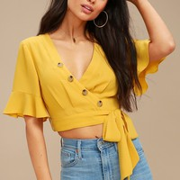 Envie Mustard Yellow Wrap Crop Top