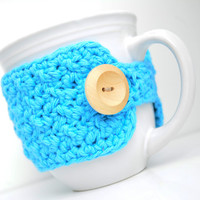 Cotton Coffee Mug Cozy, Hot Blue, Crocheted Mug Cozy, Cup Sleeve