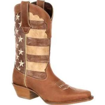 """Durango DRD0131 12"""" Crush Women's Distressed US Union Flag Cowgirl Western Boots"""