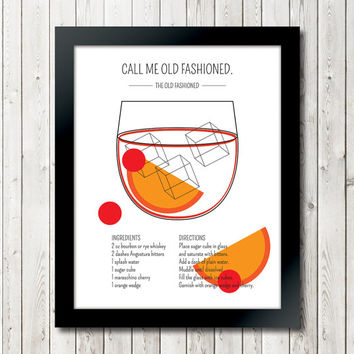 """Classic Cocktails """"The Old Fashioned"""" Art Print // Drink Recipe Poster Mad Men Don Draper // 11 x 14 // 8 x 10 // 5 x 7"""