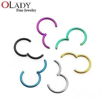 ac ICIKO2Q Hinged Segment Ring[100% Titanium G23]  4 Sizes 6 colors Piercing body jewelry Nose Septum Lip Tragus Cartilage Ring