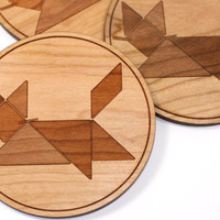 Geometric Cat Wood Coasters for Entertaining - Wooden Drink Coaster