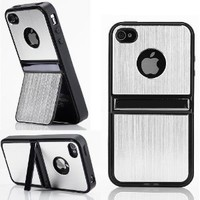 Cell Phones and Accessories Silver Aluminum TPU Hard Case with Chrome Stand for iPhone 4/4G/4S