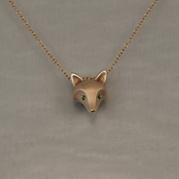 fox pendant bronze with chain green garnet eyes by Michaeltatom