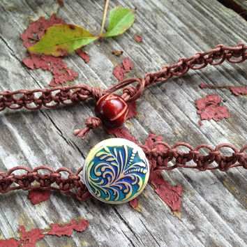 Color Changing Mood Fern Bead Organic Brown Hemp Choker Necklace