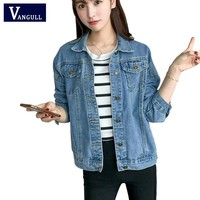 New Arrival spring Antumn short denim jackets vintage casual coat women's denim jacket for outerwear jeans Female Plus size XL