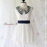 Spring Princess - Sweet Girly Simply Summer Sundress White Lace With Navy Collar Matching Sash Simply Spring Summer Dress