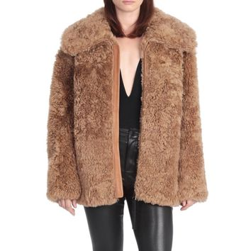 Camel Sleeves Leather Shearling Coat