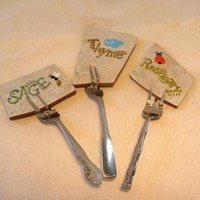 Herb Garden Markers Signs Stakes Tile Forks Recycled | Luulla