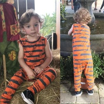New arrival Toddler Infant Baby Boy Girl Sleeveless Pumpkin Romper Jumpsuit Halloween Orange Outfit Casual Daily party infantil