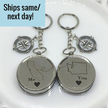 Long Distance Relationship, Engraved Compass Set, Long Distance Friendship, State or Country, Custom Engraved Compass, Deployment Keychain