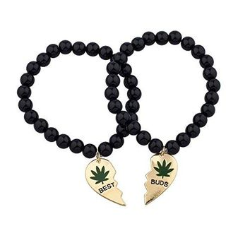 Lux Accessories Black Beaded Best Buds Weed 420 Marijuana BFF Best Friends Matching Bracelet Set