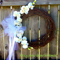 Orchid Wedding Wreath-Church Decoration- Outdoor Wedding Wreaths- Ceremony Décor- Garden Wedding Accessory