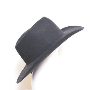 Vintage Akubra Black Wide Brim Cowboy Hat Made in Australia for Outback Trading Co
