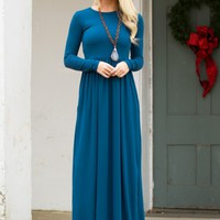 Simply Classic Maxi Dress in Teal | Monday Dress Boutique