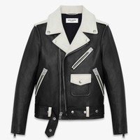 iOffer: YSL Signature Classic 2 Tone Moto Leather Jacket - New for sale