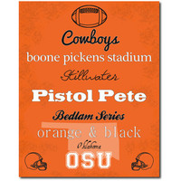 Oklahoma State Cowboys OSU Subway Art Print 8x10 Gift Home Decor College Football Typography