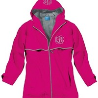 Monogrammed Hot Pink New England Rain Jacket