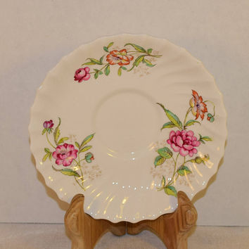 Royal Doulton Clovelly Saucer Vintage Transferware Made in England French Country Plate Bone China Pink Flowers Swirled Replacement China
