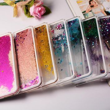Transparent Dynamic Liquid Glitter Sand Quicksand Back Case Cover for iPhone 4 4G 4S SE 5 5G 5S 5C 6 6S 7 8 / Plus Water Case