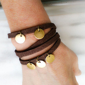 Leather brown wrap bracelet, Boho leather bracelet, Soft suede double strand bracelet, Leather choker, Leather gifts for women under 25