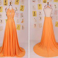Orange Keyhole Halter Lace Beading Long Prom Dress/Sexy Backless Prom Dress/Lace Evening Party Dress/Orange Long Lace Prom Dress DAF0078