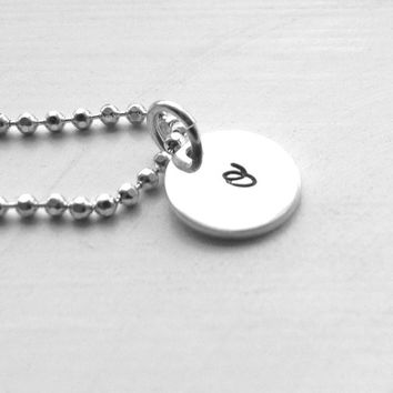 Small Initial Necklace, Letter o Necklace, All Letters Available, Sterling Silver Jewelry, Hand Stamped Jewelry, Small o Necklace, Charm, o