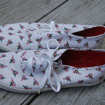 Vintage 80s Candy Cane Xmas Canvas Keds Style Tennis Shoes Sneakers Size 9