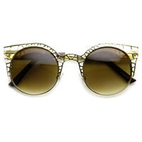 High Fashion Metal Cut Out Hollow Out Frame Round Cat Eye Sunglasses