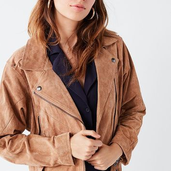 BLANKNYC Suede Belted Moto Jacket | Urban Outfitters