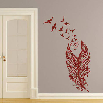 Wall Decal Vinyl Sticker Decals Art Home Decor Design Mural Feather Birds Nib Style Feather Peacock Living Room Modern Fashion Bedroom AN140