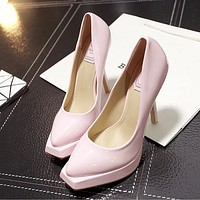 Women Fashion Lacquer Leather Shallow Mouth Square Head Platform Heels Shoes