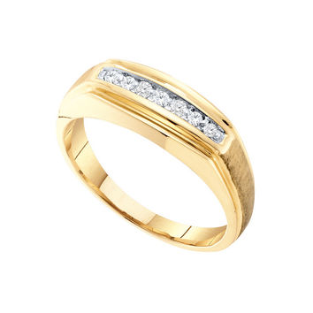 Diamond Mens Fashion Band in 10k Gold 0.15 ctw