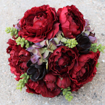 Artificial Red & Purple Silk Flower Bouquet with succulent, Bridal, Floral, Wedding, Faux, Ranunculas, Hydrangea, Elegant