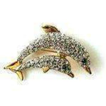 24K Gold Swarovski Crystal Two Dolphins Brooch / Pin (1/2 x 1) - Gift Boxed