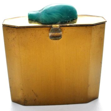 Vintage Brass Pill Box with Green Stone