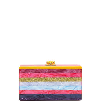 Edie Parker Jean Striped Acrylic Clutch Bag, Fuchsia Multi