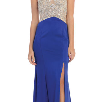 Starbox USA L6116 Jewel Neckline Studded Bodice Royal Blue See-Through Back Prom Dress